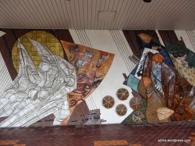 Mural en la estación de trenes de Nagaoka